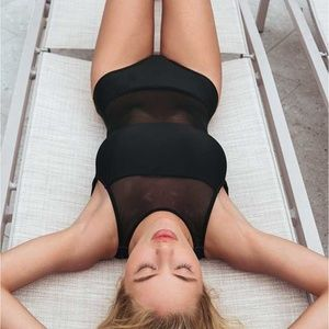 Venus Black Sheer Mesh Midriff &Shoulders Swimsuit